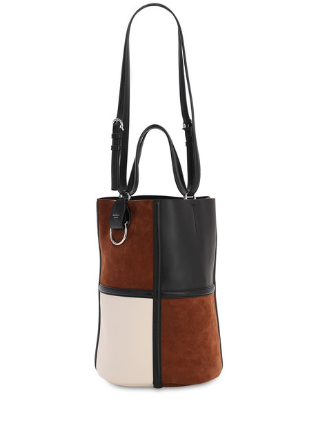 SALVATORE FERRAGAMO Maxi Suede & Leather Bucket Bag in black / brown