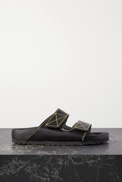 Proenza Schouler - Birkenstock Arizona Topstitched Glossed-leather Sandals - Black