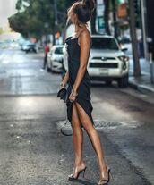 dress,black dress,midi dress,slip dress,black bag