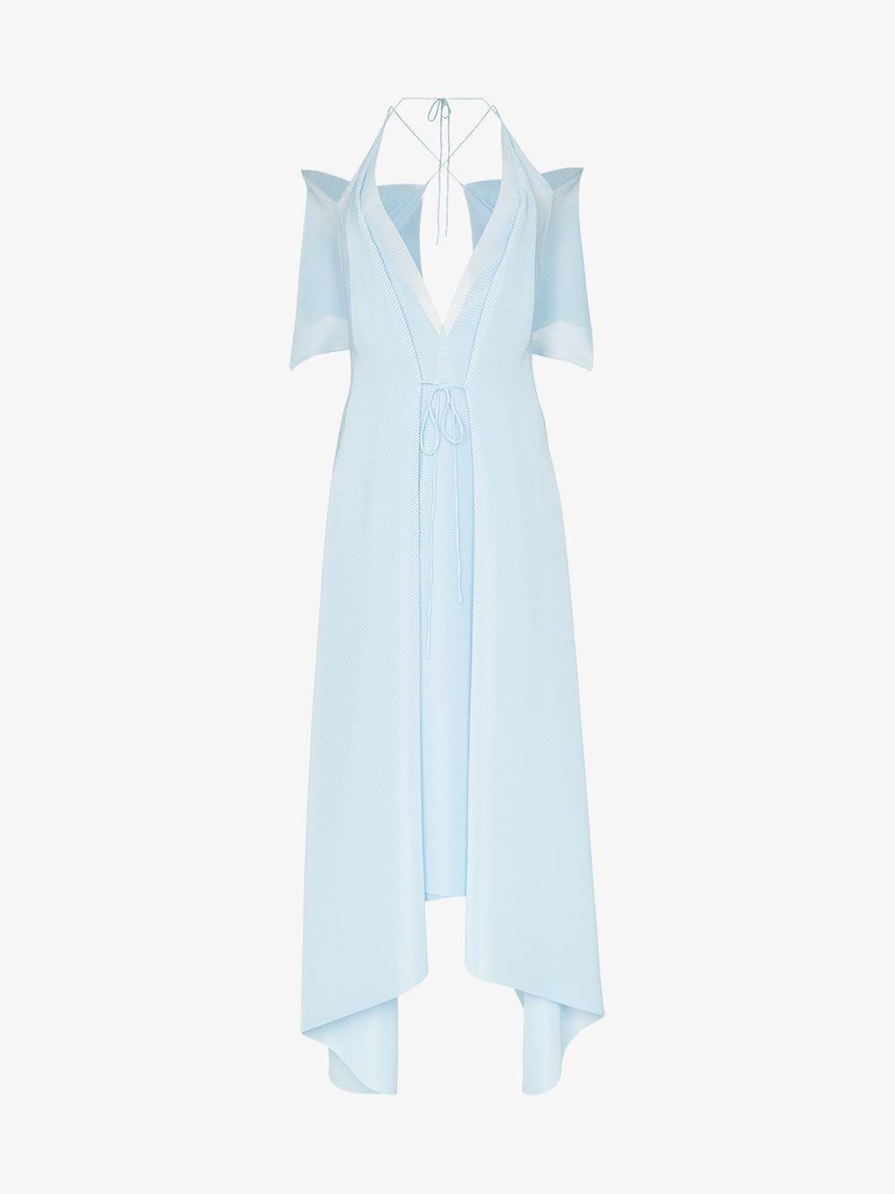 Roland Mouret Ballard cold-shoulder asymmetric hem gown in blue