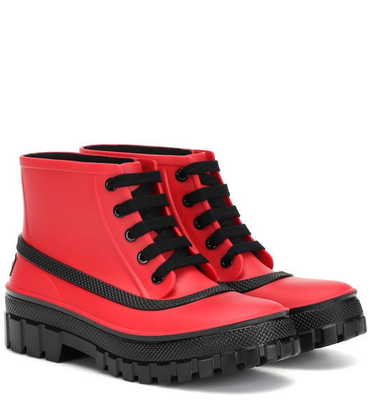 Givenchy Glaston lace-up rubber rain boots in red