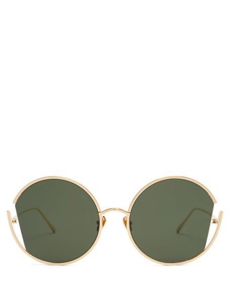 Linda Farrow - Oversized Round Sunglasses - Womens - Gold
