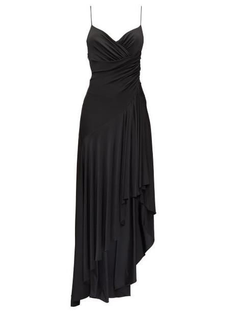 Alexandre Vauthier - Draped Low-back Asymmetric Jersey Dress - Womens - Black