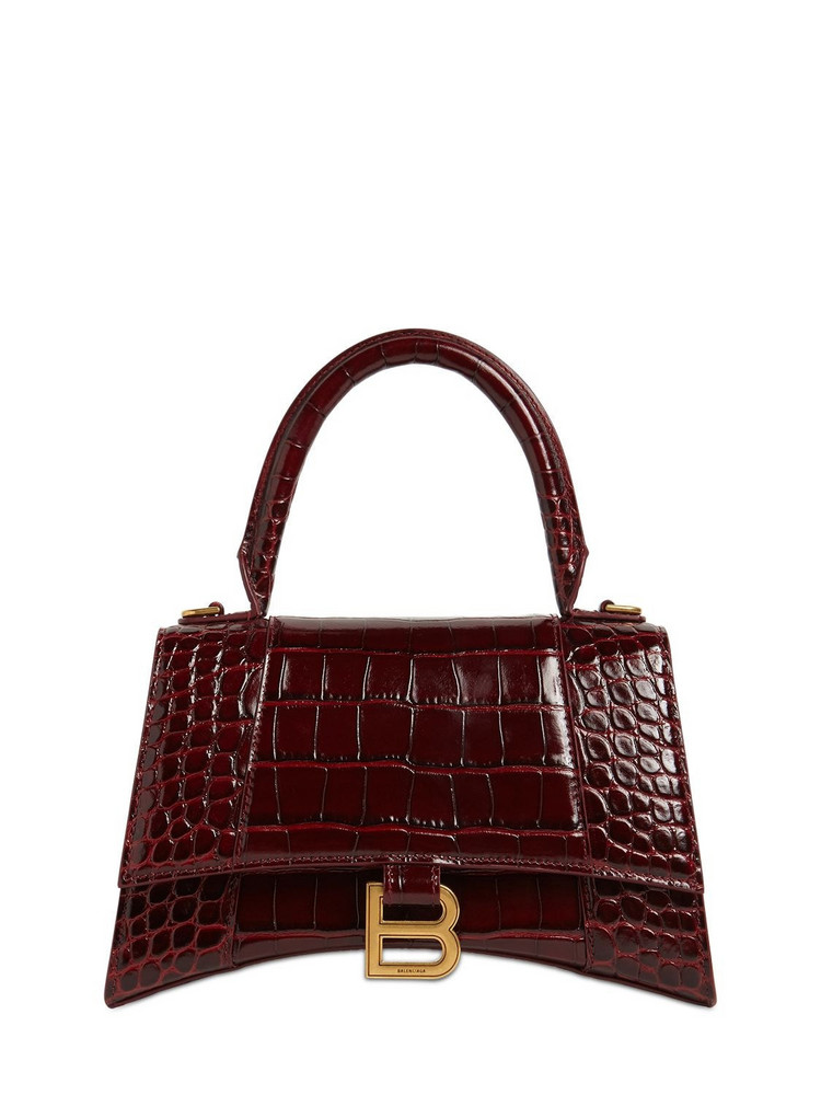 BALENCIAGA Sm Hourglass Printed Leather Bag in red