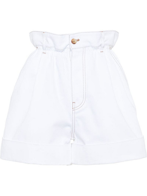 Miu Miu drill paper bag shorts in white