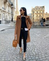 pants,skinny pants,black pants,ballet flats,beige coat,black sweater,shirt,bag