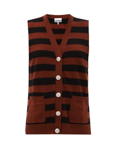 Ganni - Crystal-button Cashmere Sleeveless Sweater - Womens - Black Brown
