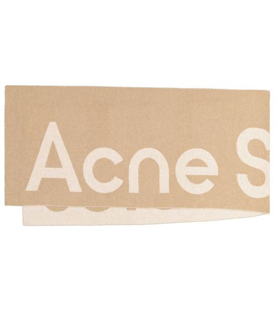 Acne Studios Logo wool-blend scarf in beige