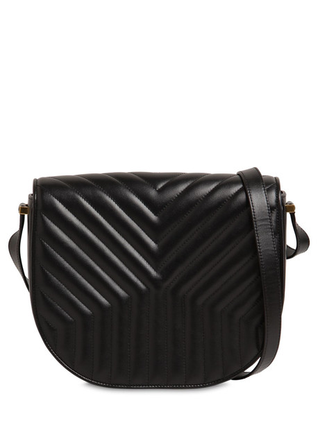 SAINT LAURENT Joan Quilted Leather Satchel Bag in black
