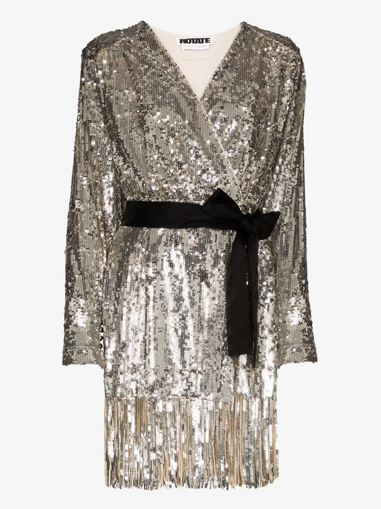 ROTATE Samantha sequin belted mini dress in silver