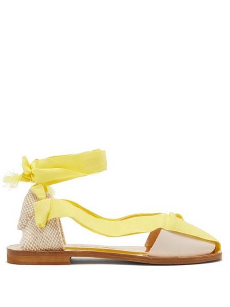 Álvaro Álvaro - Teresa Wrap-tie Canvas Sandals - Womens - Yellow White