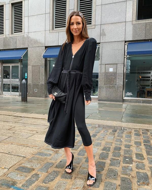 shoes patent shoes leather louboutin black leggings black dress long sleeve dress black bag chanel bag