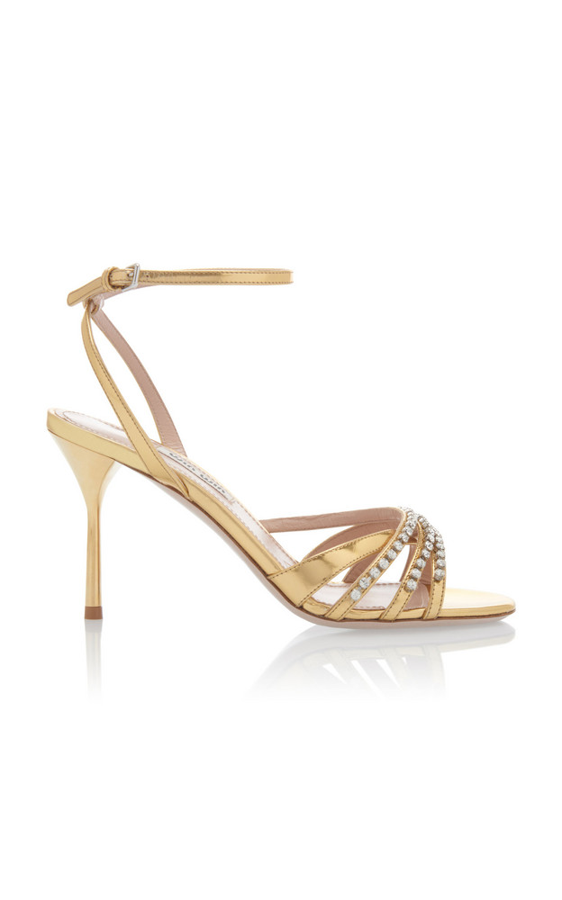 Miu Miu Crystal-Embellished Strappy Sandals Size: 35 in gold