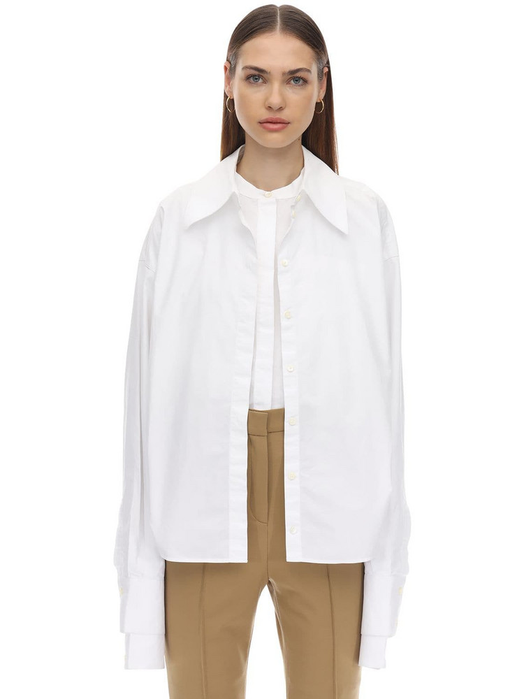 ROKH Layered Cotton Poplin Shirt in white