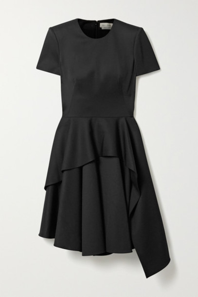 Alexander McQueen - Asymmetric Layered Wool-crepe Dress - Black