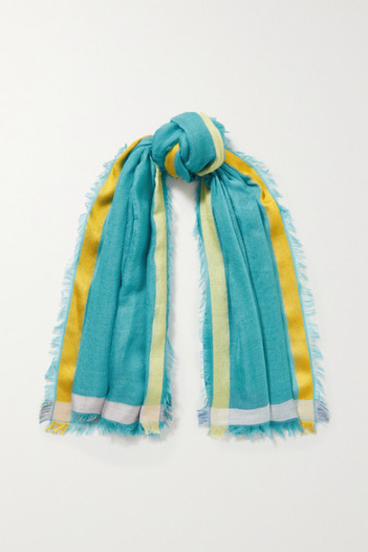 Loro Piana - Fringed Striped Cashmere And Silk-blend Scarf - Blue