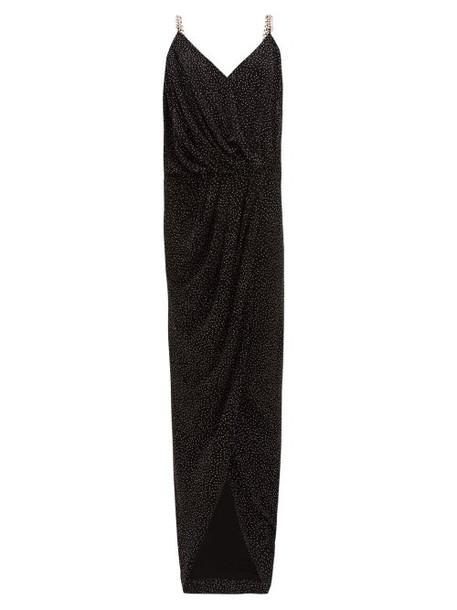 Balmain - Studded Chain-strap Crepe Maxi Dress - Womens - Black