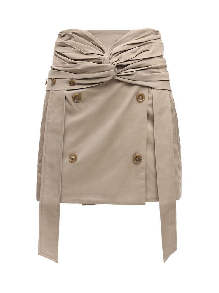 ROKH Cotton Gabardine Mini Skirt in beige