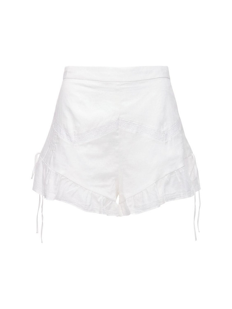 SIR THE LABEL Caprice Ruffled Cotton Shorts in ivory