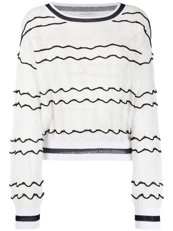 Ballantyne fine knit jumper in white