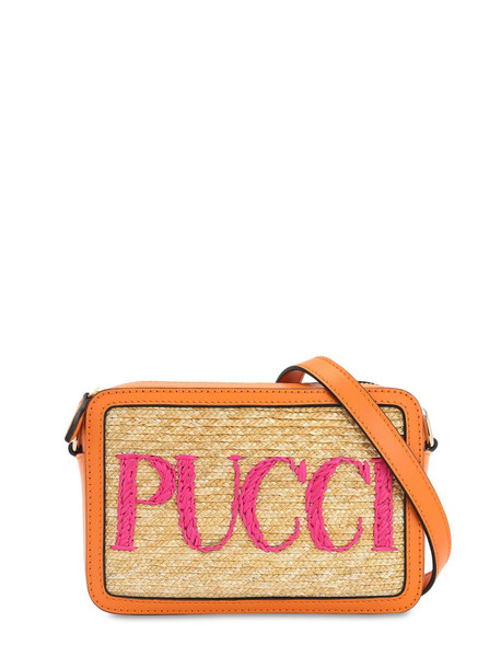EMILIO PUCCI Straw & Leather Camera Bag in orange / beige