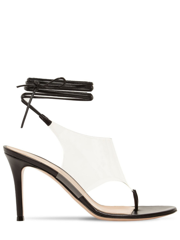 GIANVITO ROSSI 85mm Plexi & Leather Thong Sandals in black