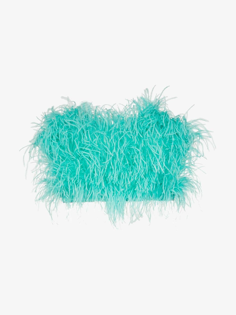 Attico Ostrich Feather Cropped Bustier in mint