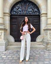 pants,white pants,sandal heels,t-shirt,bag