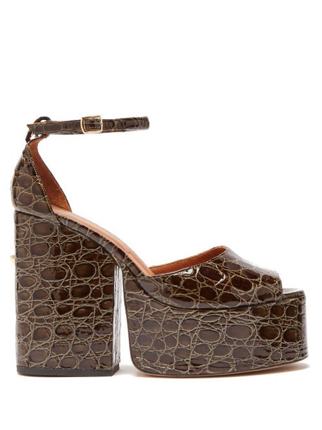 Osman - Gesa Crocodile Effect Leather Platform Sandals - Womens - Khaki