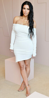 dress,white,white dress,off the shoulder,off the shoulder dress,kim kardashian,kardashians,mini dress