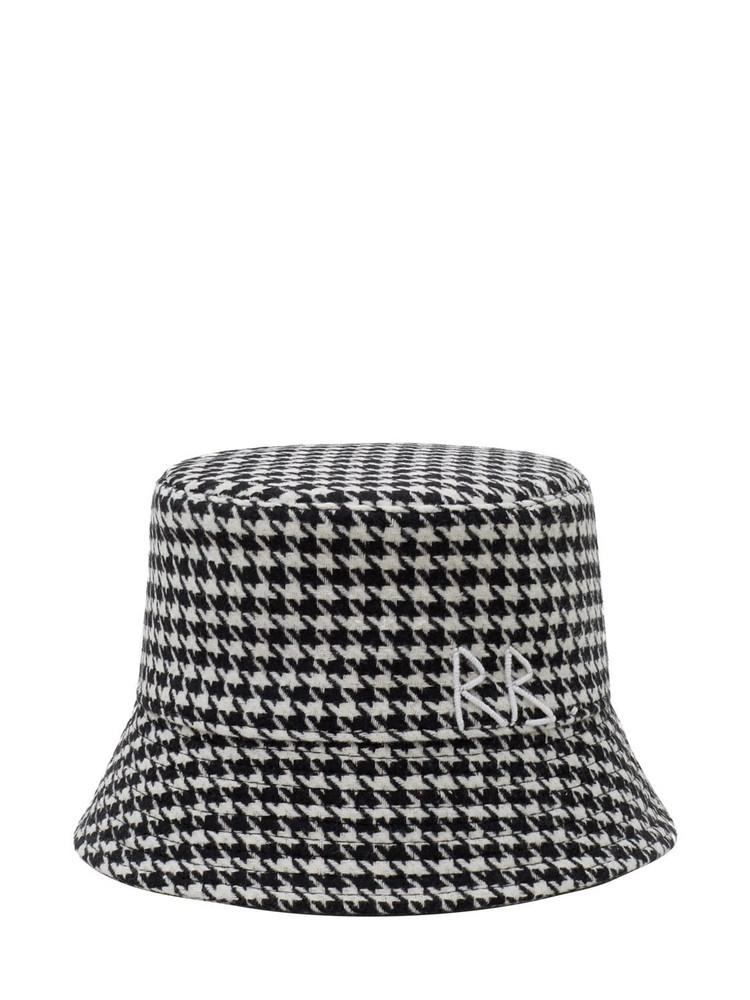 RUSLAN BAGINSKIY Houndstooth Lampshade Bucket Hat in black / white