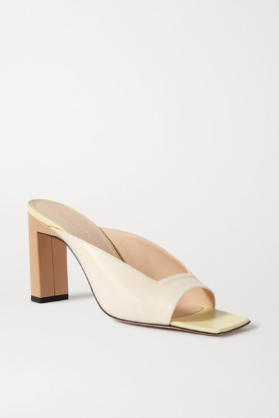 Wandler - Isa Color-block Leather Mules - Cream
