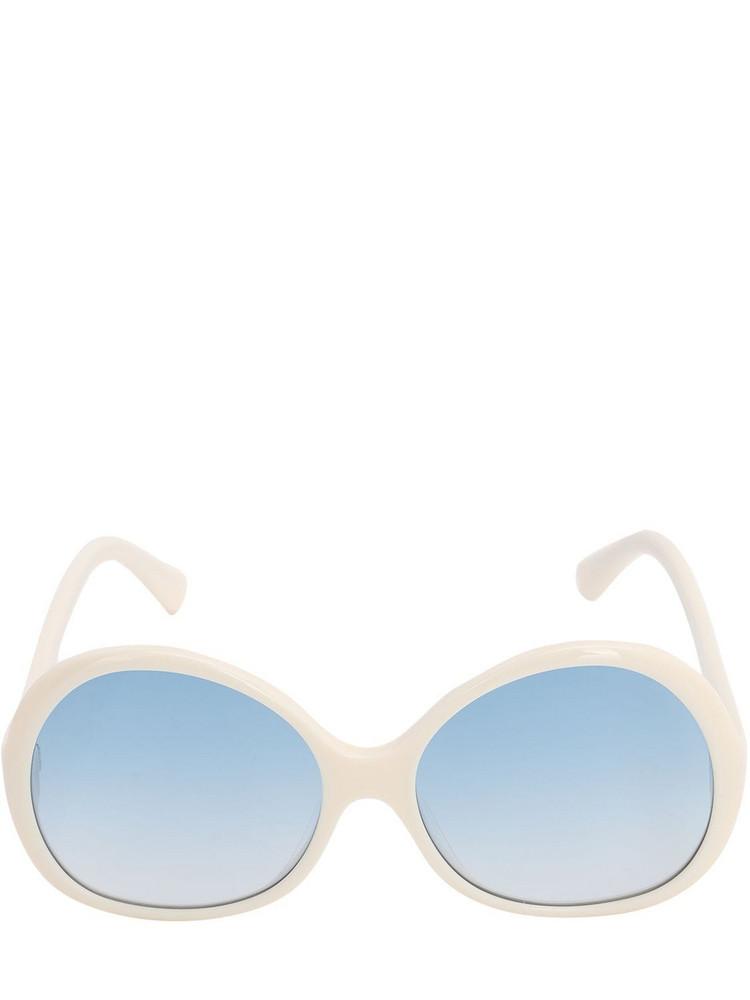 GEORGE KEBURIA Oversize Round Acetate Sunglasses in blue / ivory