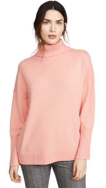 Chinti and Parker Relaxed Polo Cashmere Sweater in rose