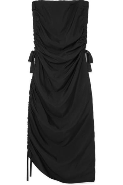 By Malene Birger - Chita Ruched Satin Midi Dress - Black