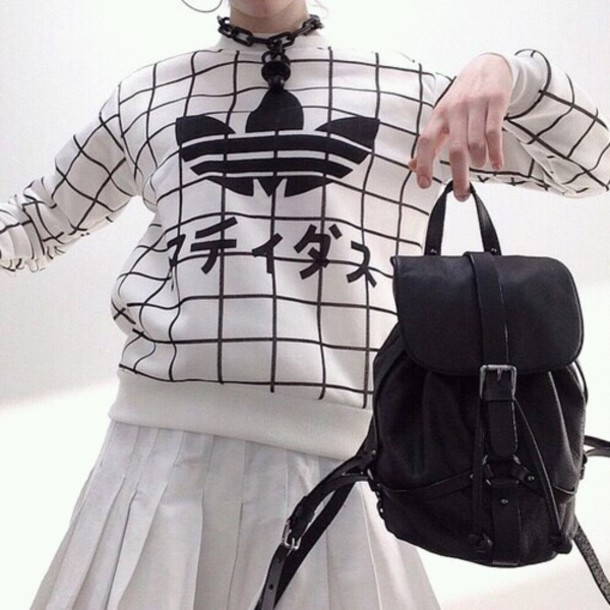 sweater sweatshirt adidas japan japanese black and white tumblr clothes soft grunge pastel grunge hipster black white