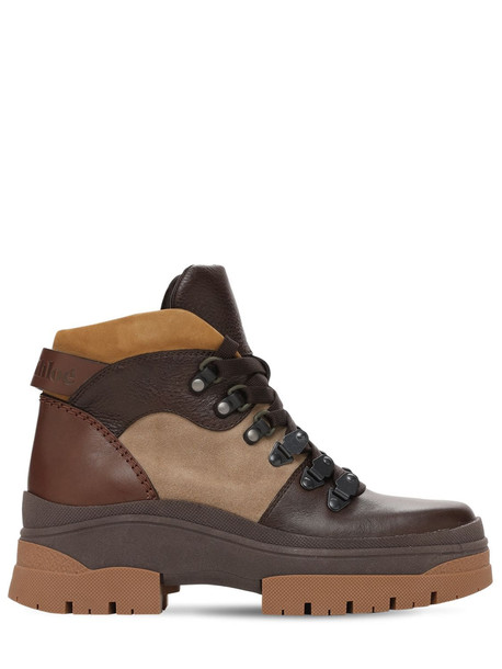 SEE BY CHLOÉ 30mm Aure Leather & Suede Hiking Boots in brown / beige