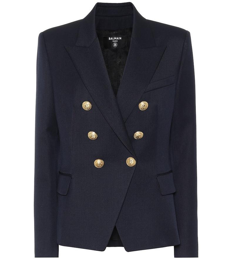 Balmain Double-breasted virgin wool blazer in blue