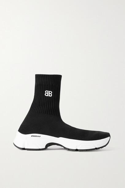 BALENCIAGA - Speed 3.0 Logo-jacquard Stretch-knit High-top Sneakers - Black