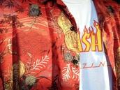 shirt,red,orange,hawaiian,button up,tiger