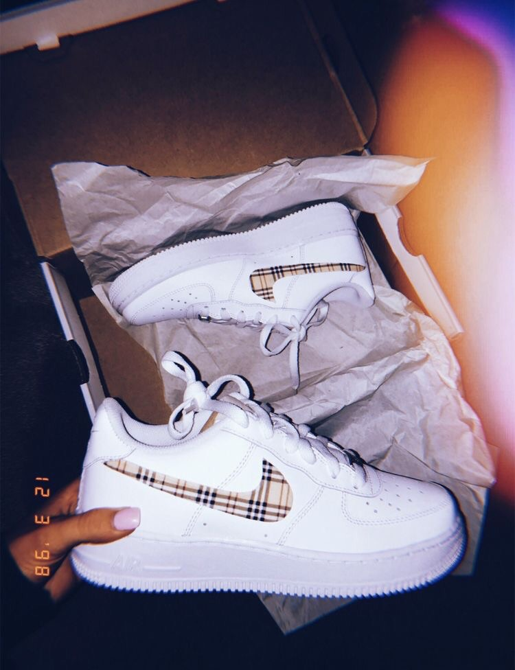 shoes, nike air force 1, burberry