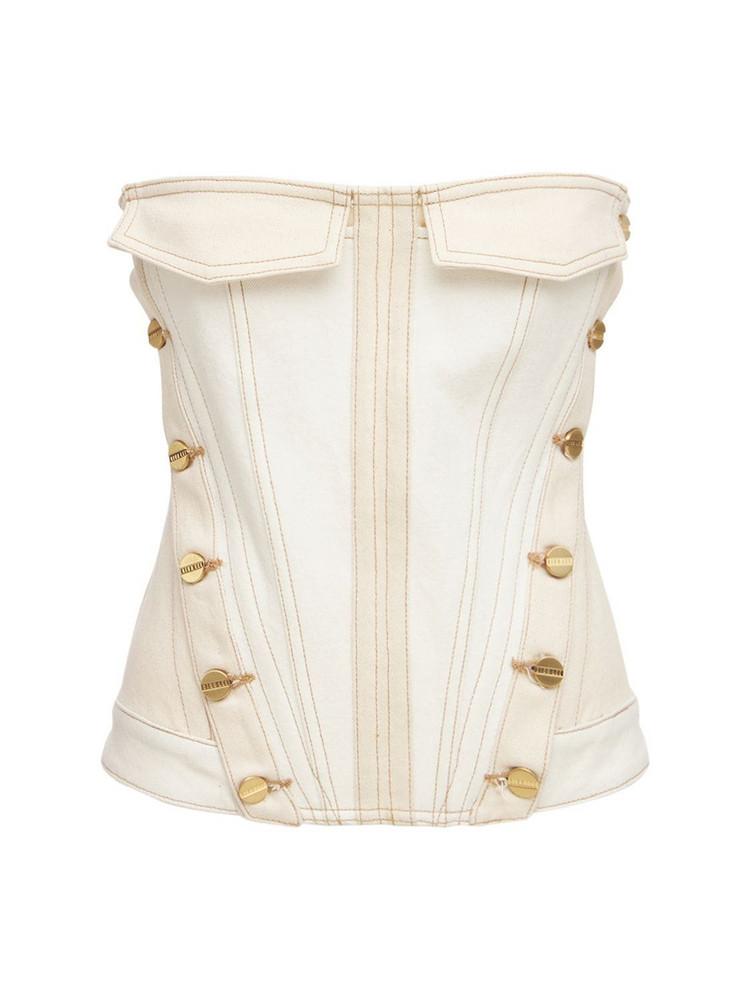 DION LEE Cotton Denim Strapeless Corset Top in ivory / beige