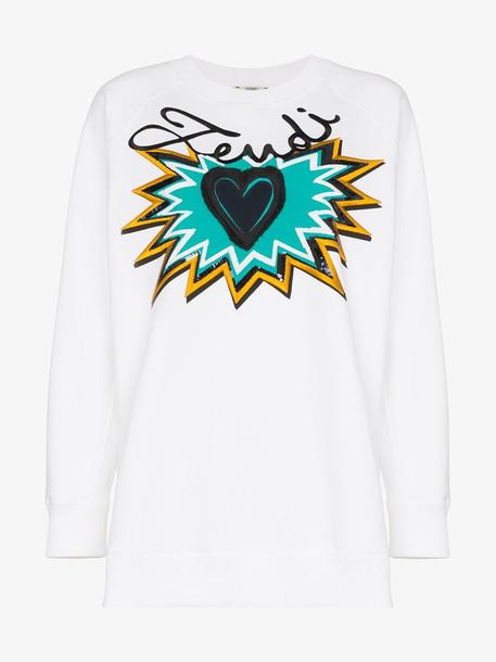 Fendi logo motif sweatshirt in white