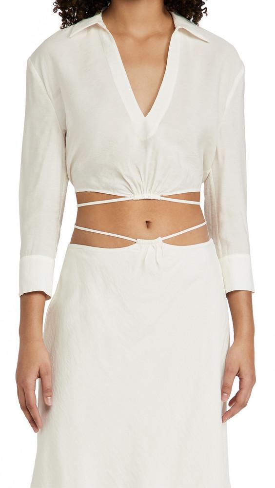 Jonathan Simkhai Mazzy Solid Strap Detail Crop Shirt in white
