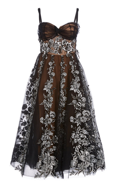 Marchesa Floral Tulle Dress in black