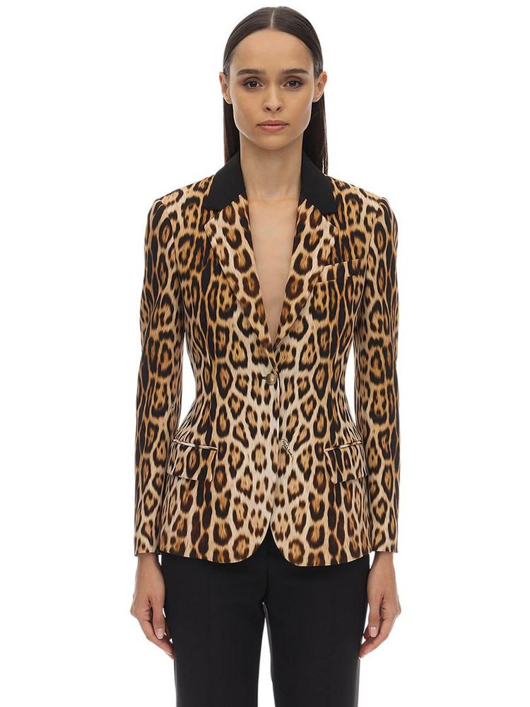 ROBERTO CAVALLI Leopard Print Viscose Crepe Blazer