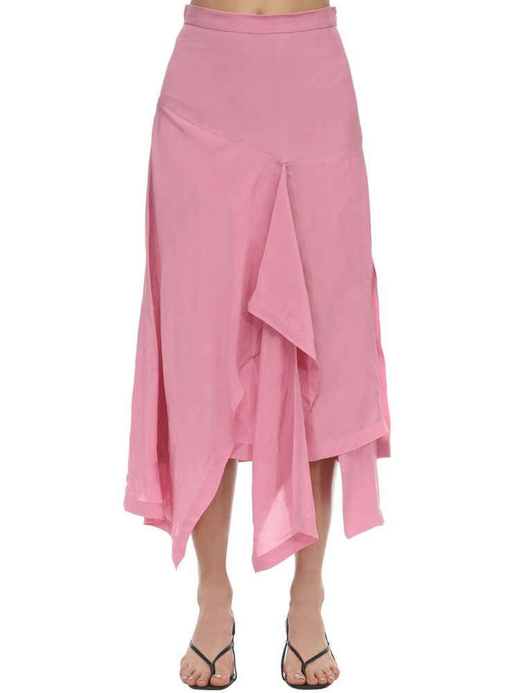 COLVILLE High Waist Draped Midi Skirt in pink