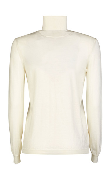 Giuliva Heritage Collection Arianna Ribbed-Knit Virgin Wool Turtleneck in white
