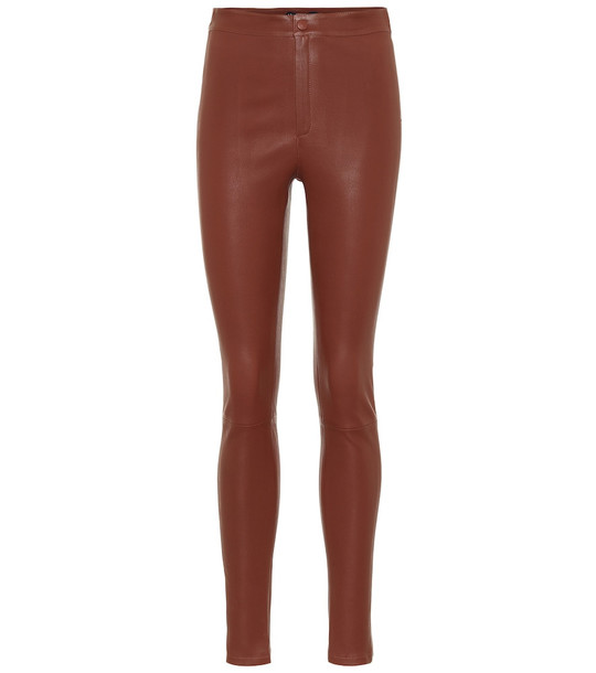 Zeynep Arçay High-rise skinny leather pants in brown