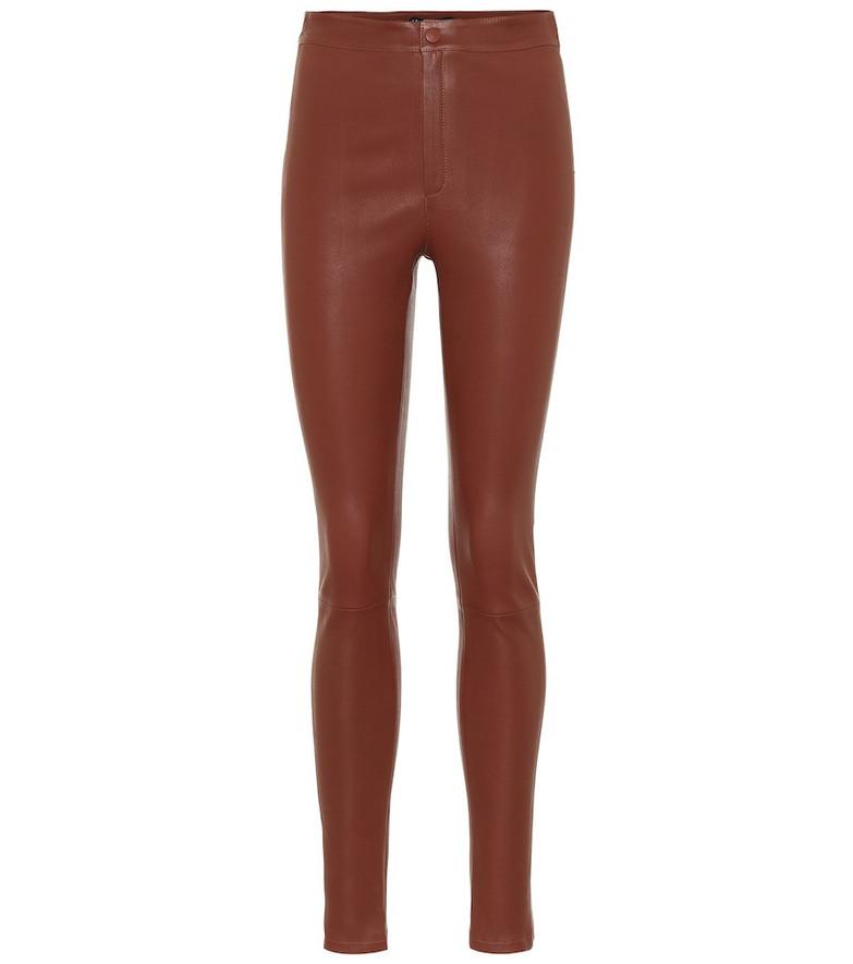 Zeynep Arçay High-rise skinny leather pants in brown